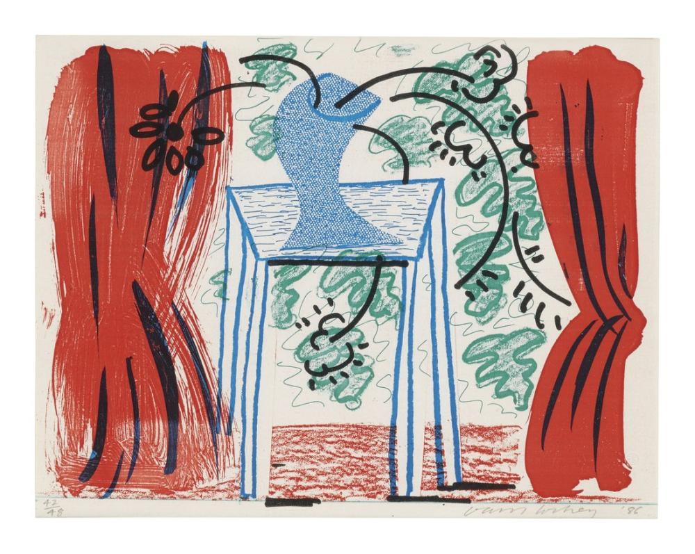 David Hockney, Still Life with Curtains, Figure, David Hockney, kanvas tablo, canvas print sales