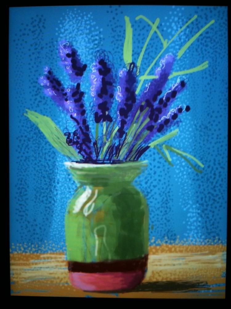David Hockney, Yeşil Vazolu Natürmort, Kanvas Tablo, David Hockney