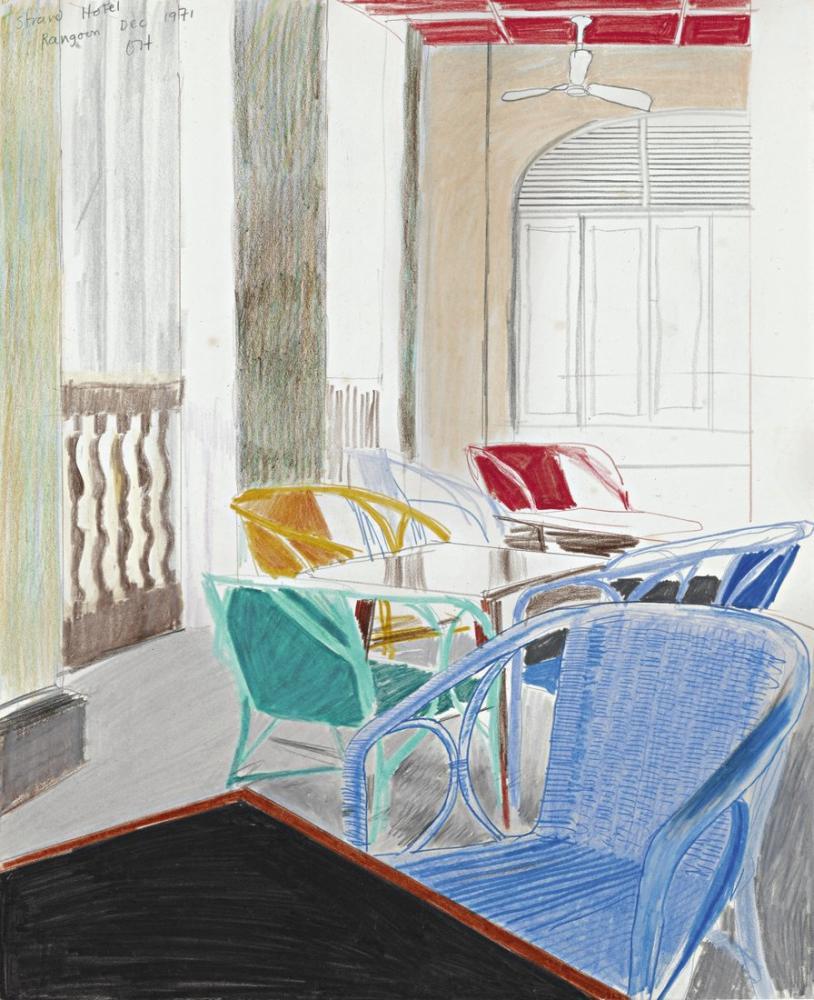 David Hockney, Strand Hotel Rangoon, Kanvas Tablo, David Hockney