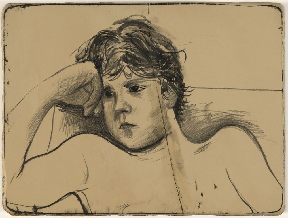 David Hockney, Byron Litografik Taş Çalışması 1979, Figür, David Hockney, kanvas tablo, canvas print sales