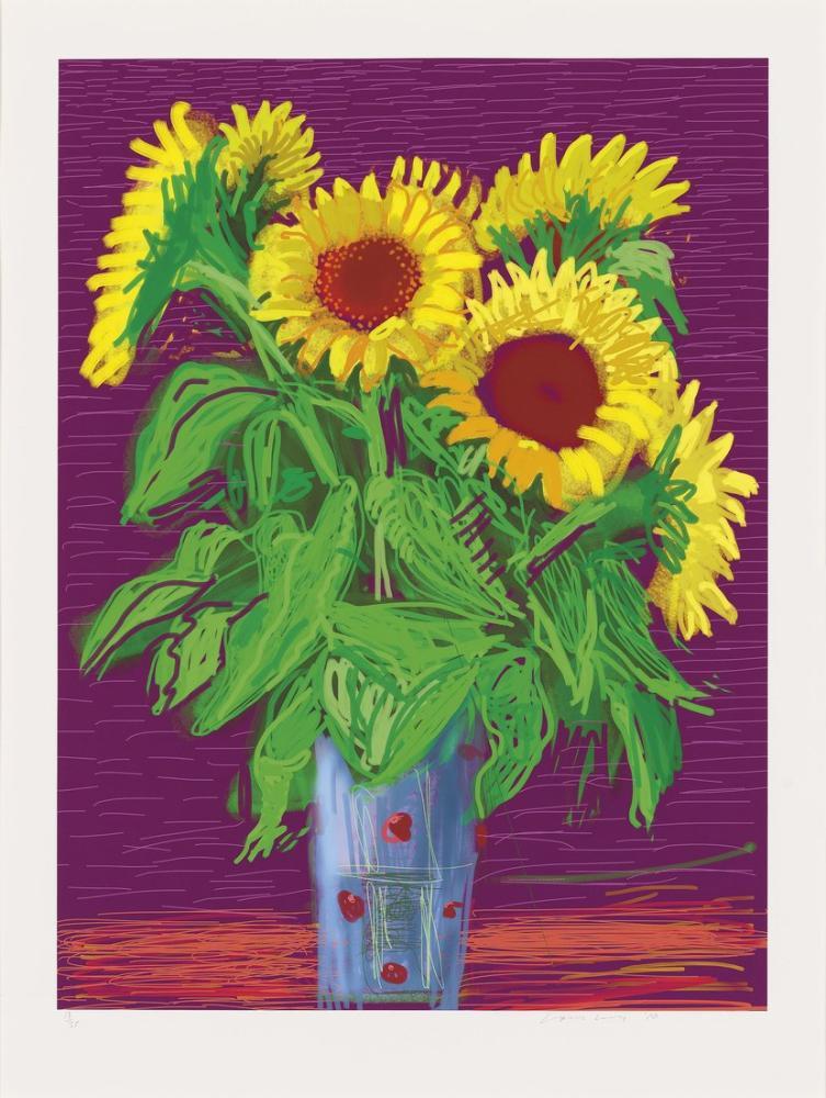 David Hockney, Ayçiçekleri, Kanvas Tablo, David Hockney