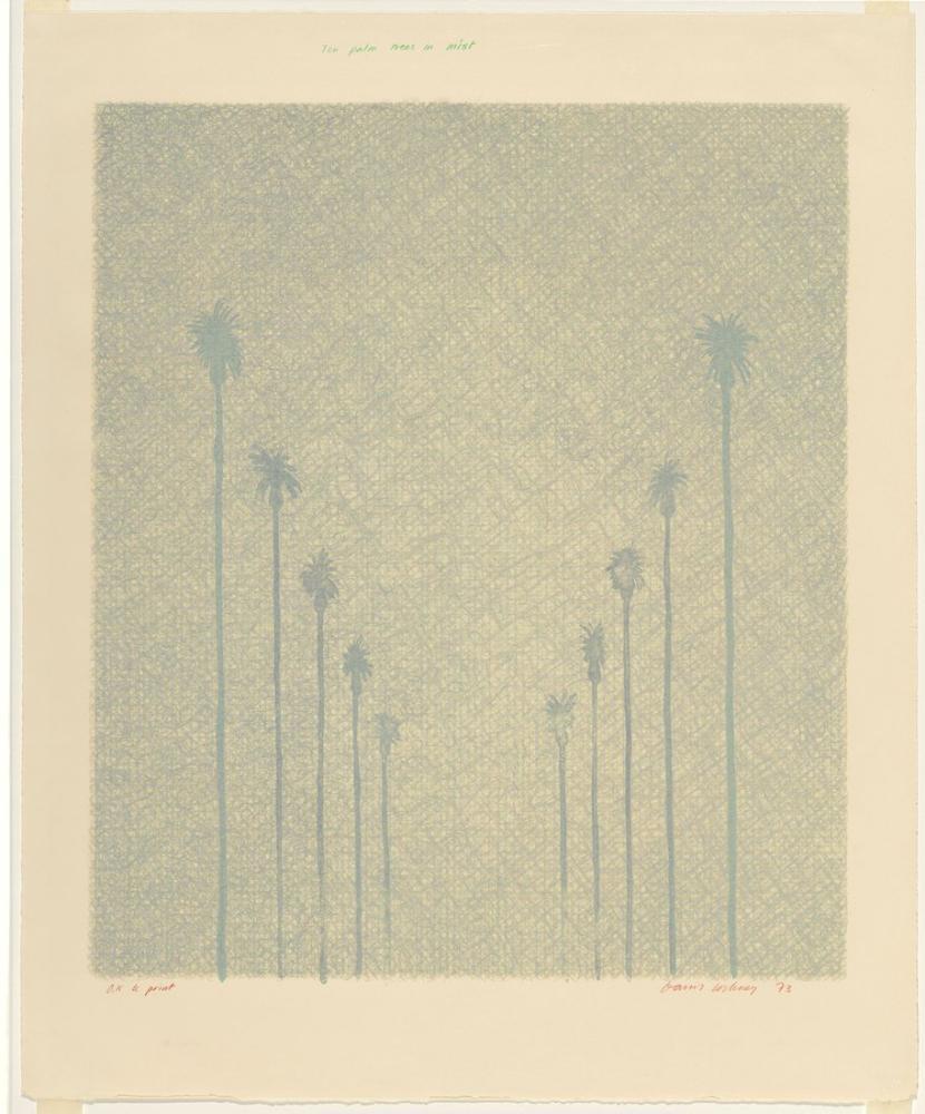 David Hockney, Sis İçinde On Palmiye Ağacı 1973, Kanvas Tablo, David Hockney