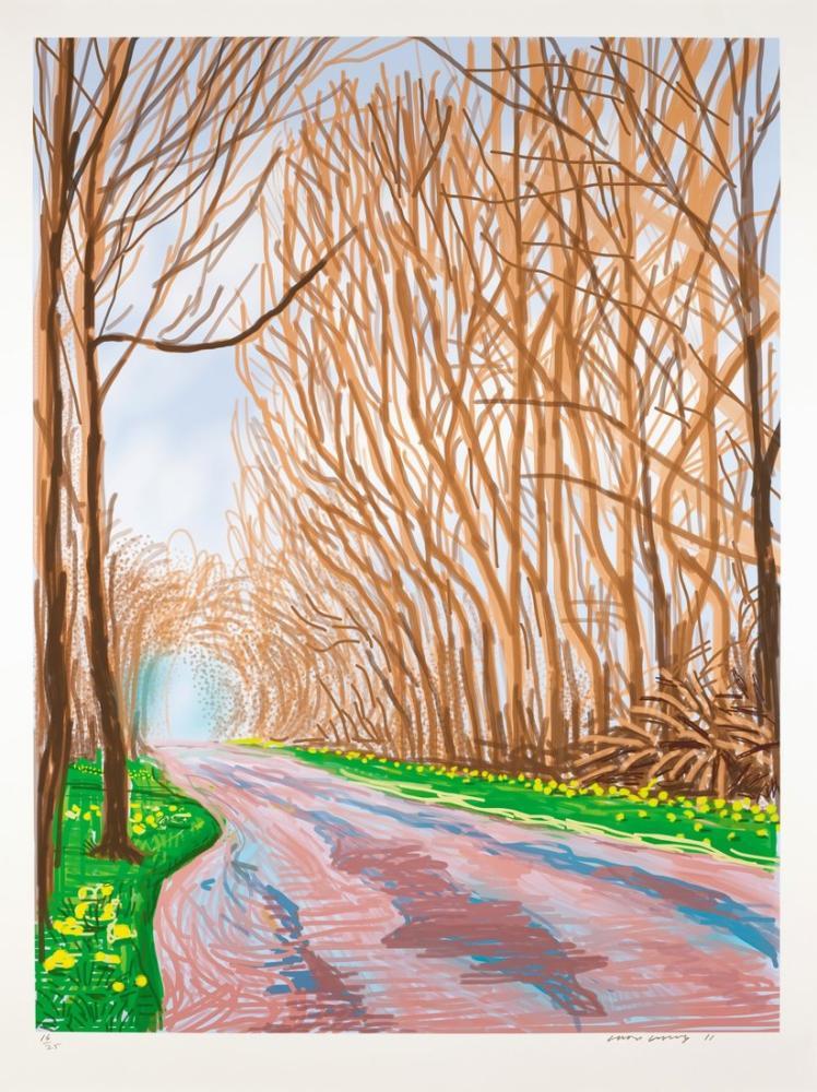 David Hockney, 2011 de Woldgate Doğu Yorkshire a Baharın Gelişi, Kanvas Tablo, David Hockney, kanvas tablo, canvas print sales