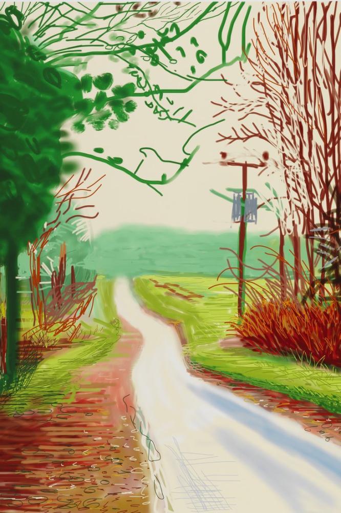 David Hockney, The Arrival of Spring in Woldgate East Yorkshire in 2011 February, Canvas, David Hockney, kanvas tablo, canvas print sales