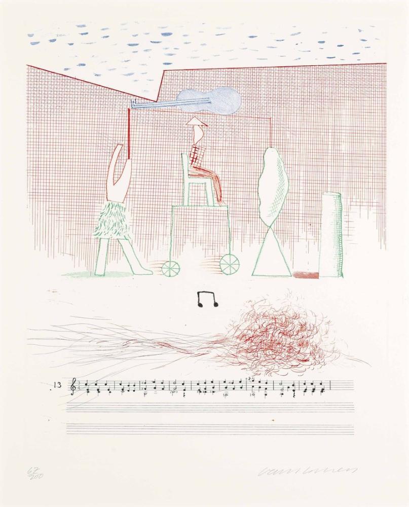 David Hockney, Mavi Gitar 3, Figür, David Hockney, kanvas tablo, canvas print sales