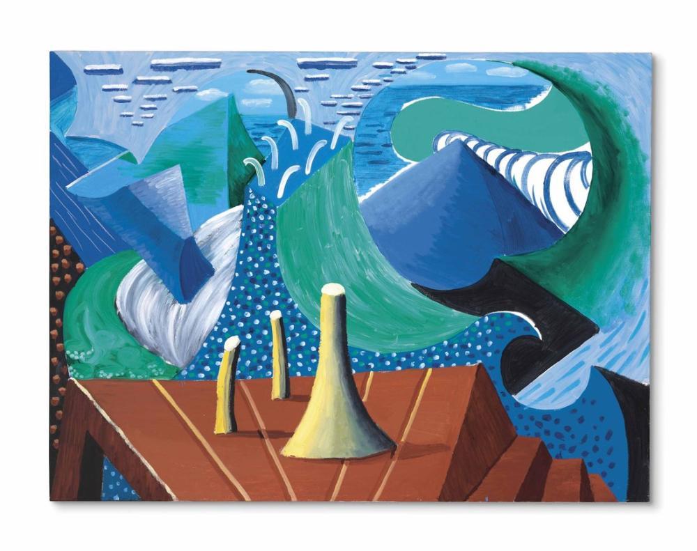 David Hockney, Malibu'da Deniz, Kanvas Tablo, David Hockney