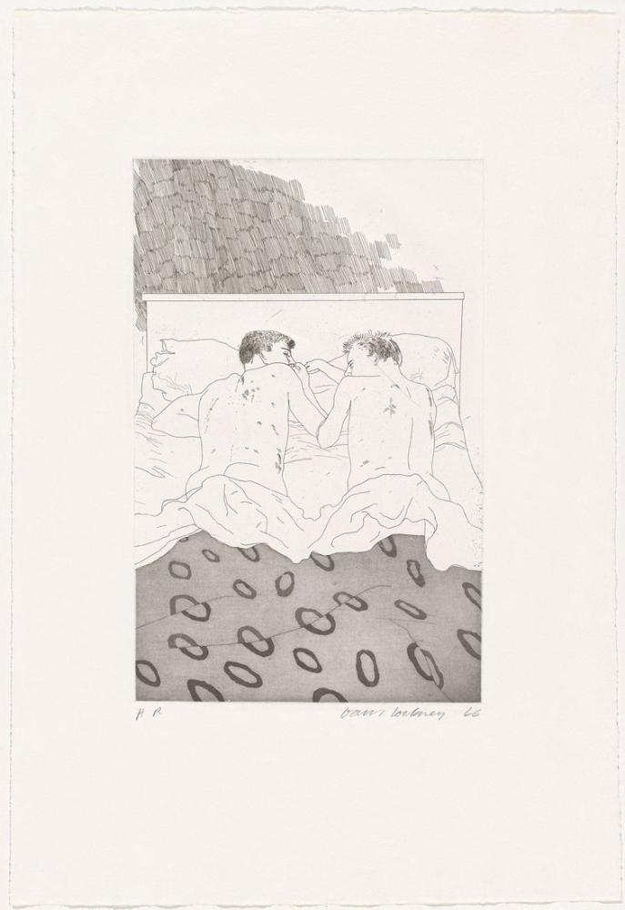 David Hockney, Two Boys Aged, Figure, David Hockney, kanvas tablo, canvas print sales