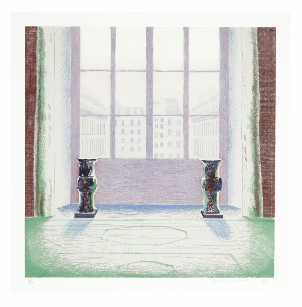 David Hockney, Panjurda İki Vazo, Kanvas Tablo, David Hockney