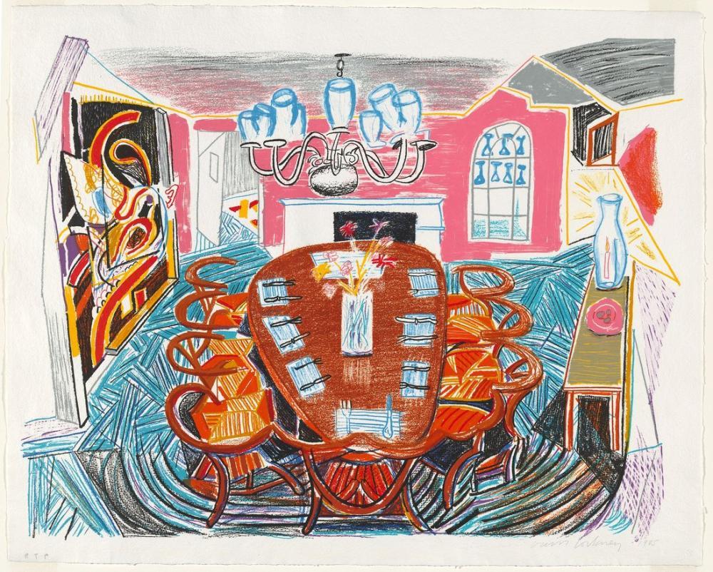 David Hockney, Tyler Dining Room 1985, Figure, David Hockney, kanvas tablo, canvas print sales