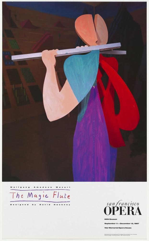 David Hockney, Wolfgang Amadeus Mozart: Sihirli Flüt 1987, Figür, David Hockney