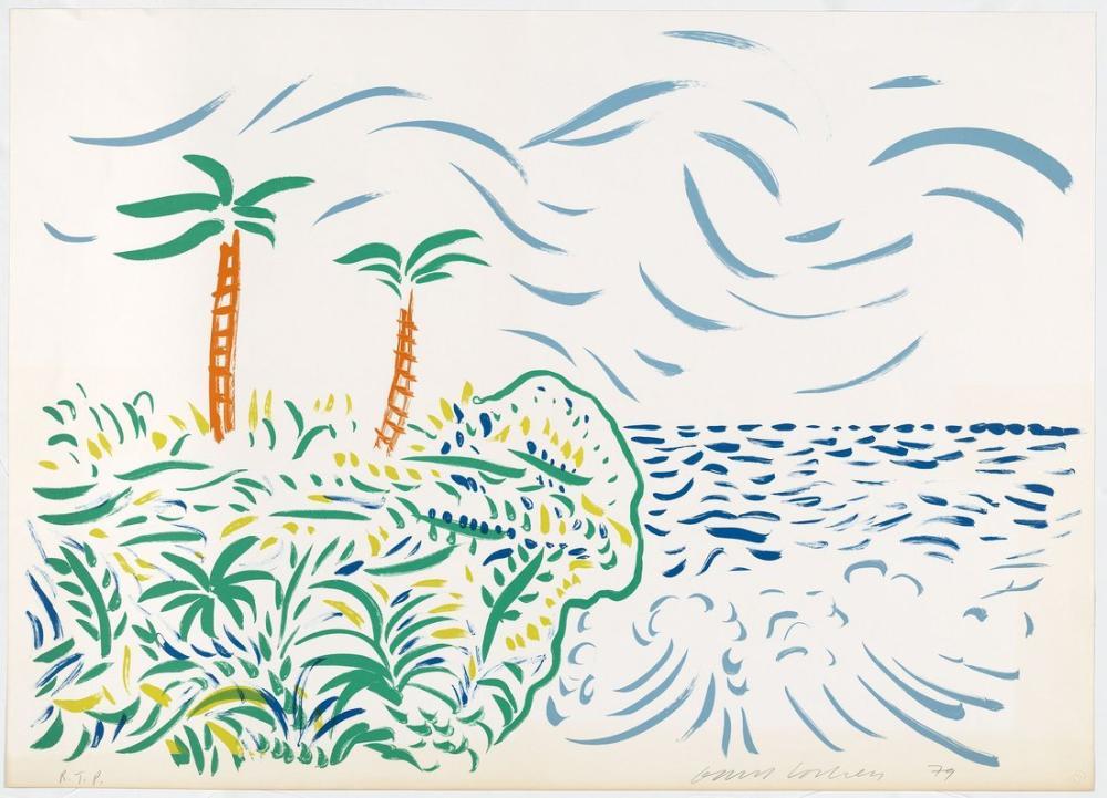 David Hockney, Bora Bora 1980, Kanvas Tablo, David Hockney