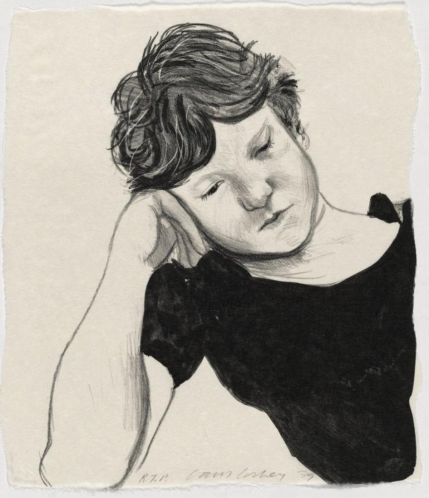 David Hockney, Elinde Byron 1979, Kanvas Tablo, David Hockney