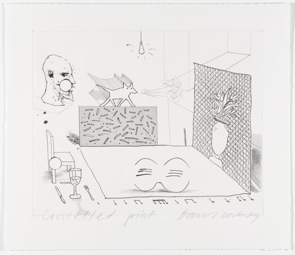 David Hockney, The Blue Guitar'dan Uyumsuzluk Sadece Büyüyor İçin İptal Kanıtı, Kanvas Tablo, David Hockney