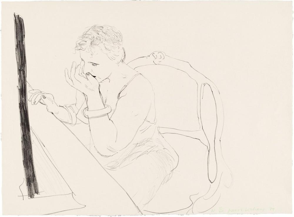 David Hockney, Celia, Kirpiklerini Düzeltiyor, Figür, David Hockney, kanvas tablo, canvas print sales
