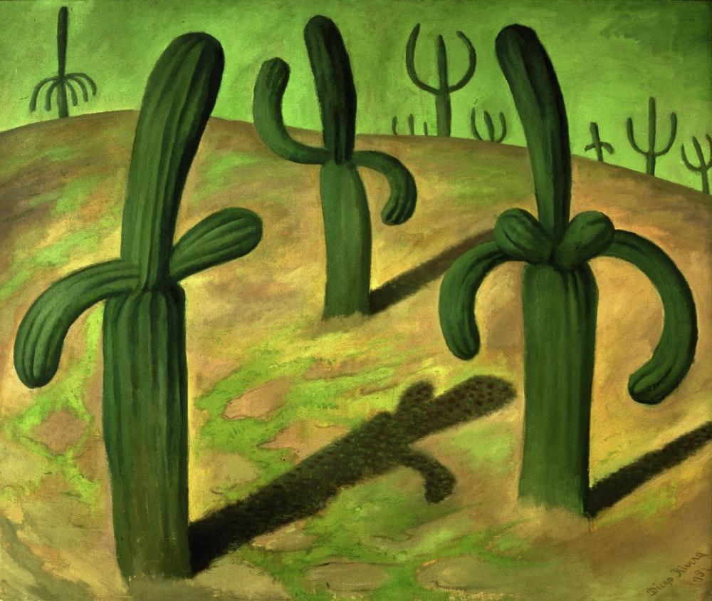 Diego Rivera, Landscape with Cactus, Figure, Diego Rivera, kanvas tablo, canvas print sales