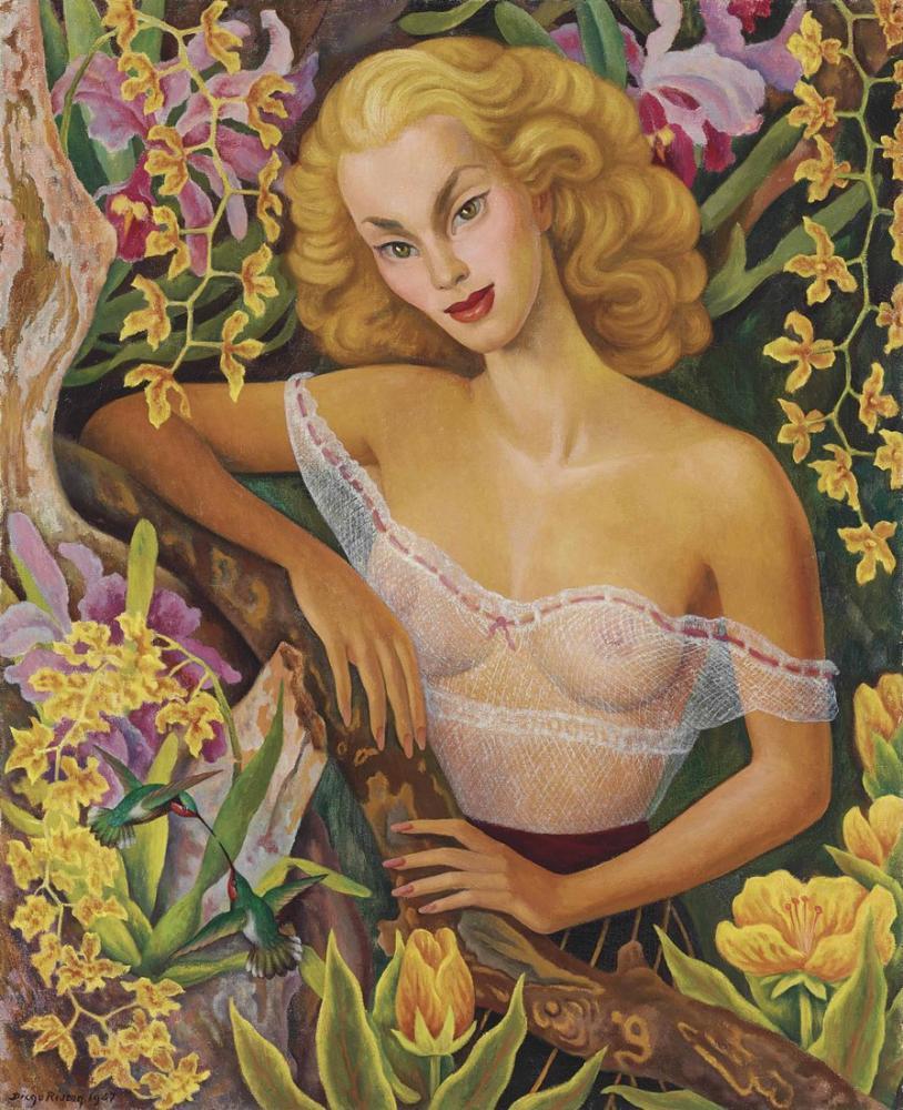 Diego Rivera, Portrait of Linda Christian, Canvas, Diego Rivera, kanvas tablo, canvas print sales