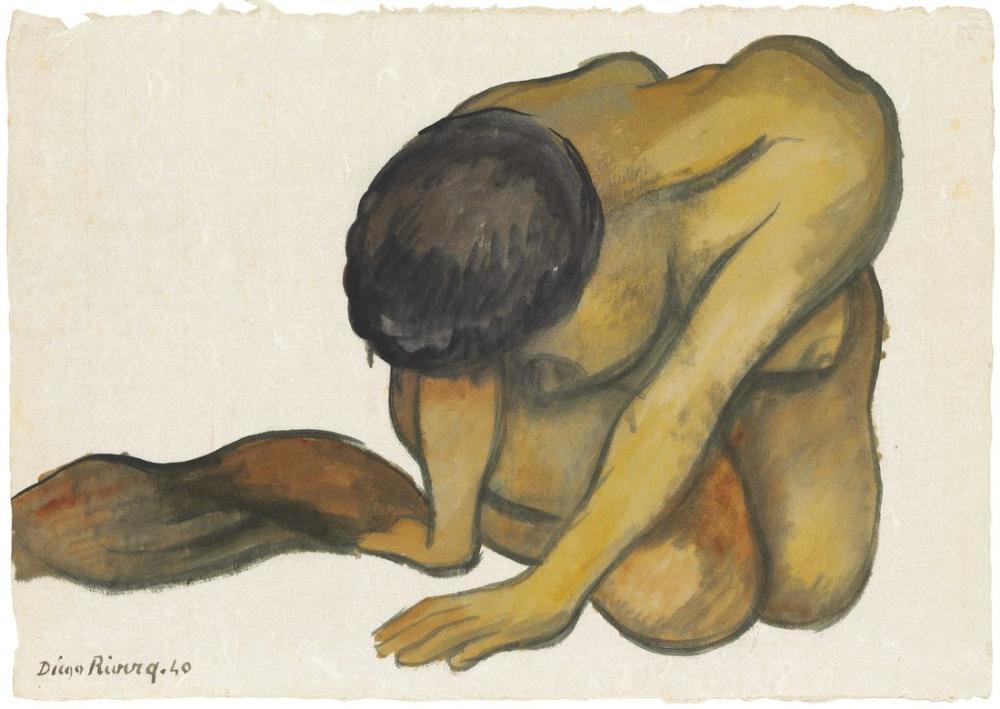 Diego Rivera, Diz Çökmüş Kadın, Figür, Diego Rivera
