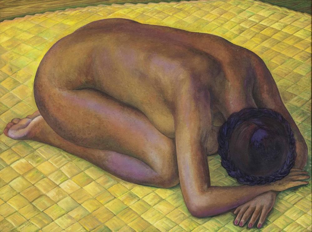 Diego Rivera, Çıplak Kadın Ayçiçeği ile Boyama, Kanvas Tablo, Diego Rivera