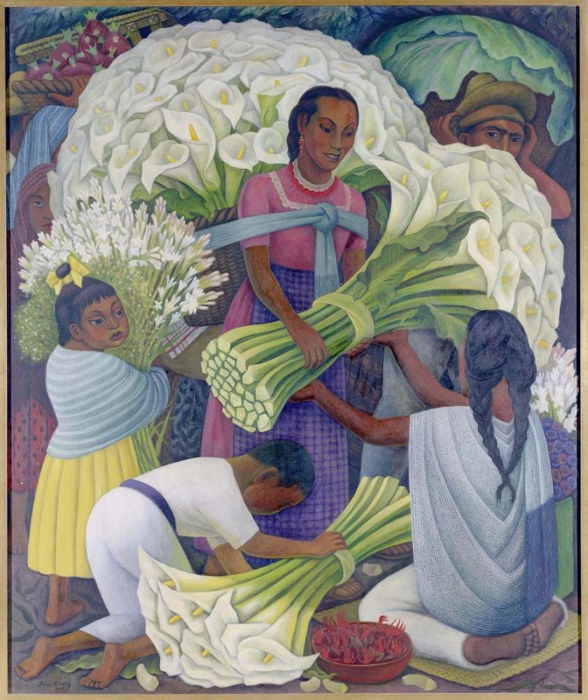 Diego Rivera, Çiçek Satıcısı, Kanvas Tablo, Diego Rivera