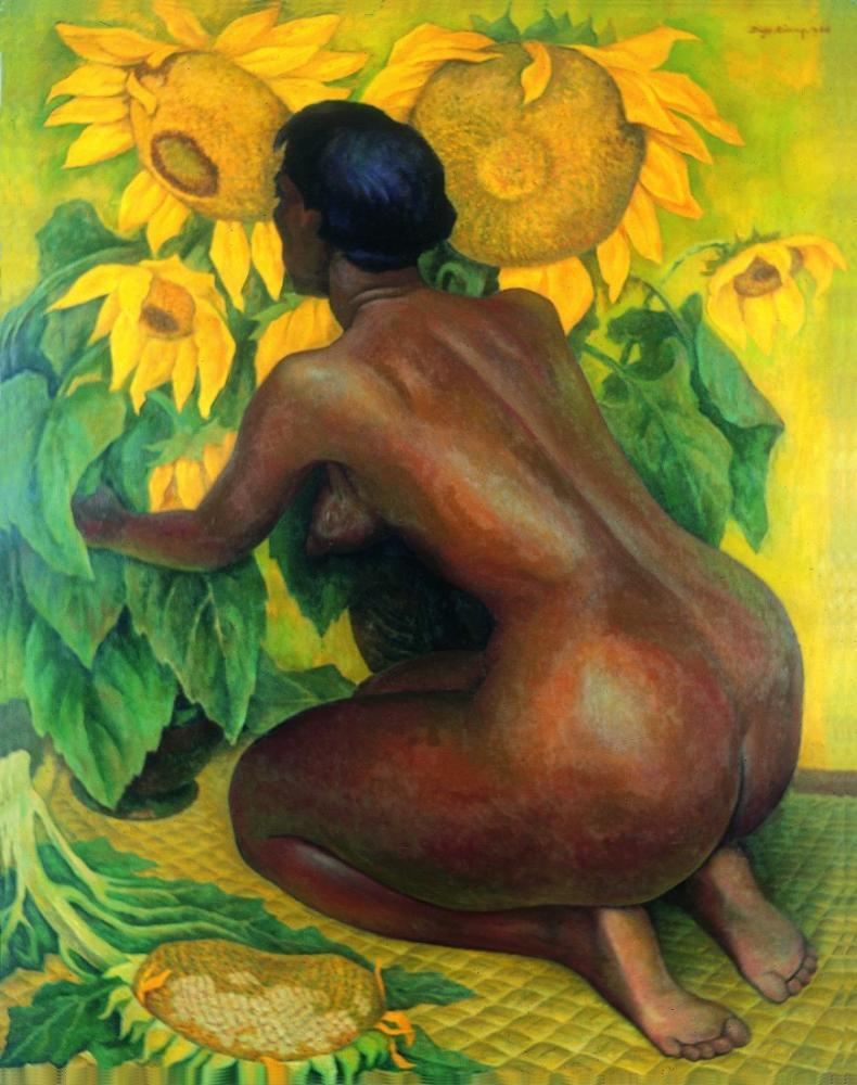 Diego Rivera, Ayçiçeği ile Çıplak, Kanvas Tablo, Diego Rivera