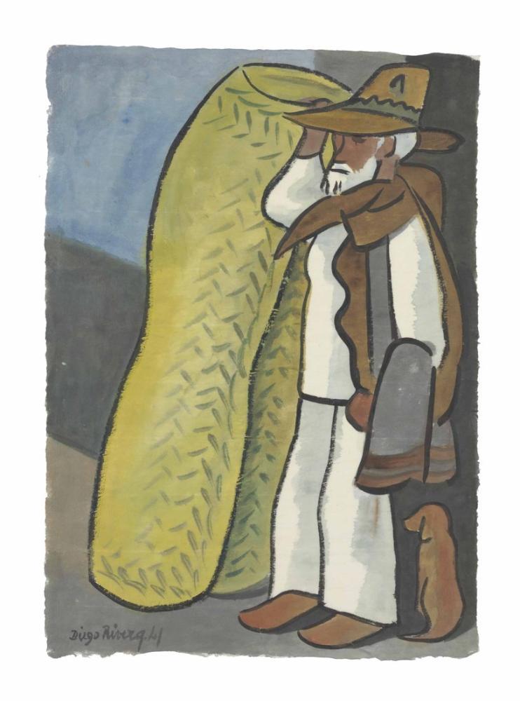 Diego Rivera, Sırt Çantası ve Köpek ile Yaşlı Adam, Figür, Diego Rivera