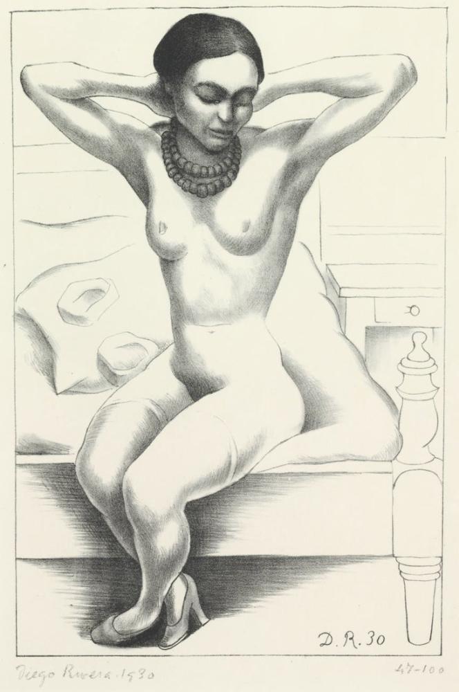 Diego Rivera, Nude Portrait of Frida Kahlo, Canvas, Diego Rivera, kanvas tablo, canvas print sales