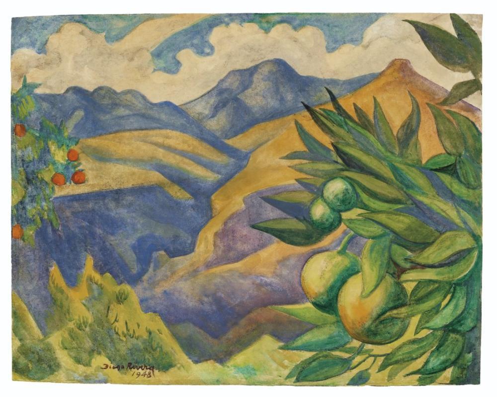 Diego Rivera, Paisaje con montanas y arboles frutales, Canvas, Diego Rivera, kanvas tablo, canvas print sales