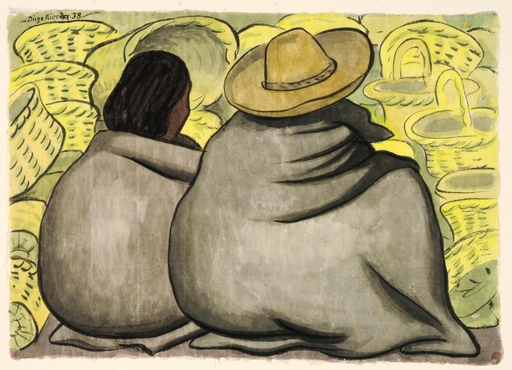 Diego Rivera, Basket Vendors, Figure, Diego Rivera, kanvas tablo, canvas print sales