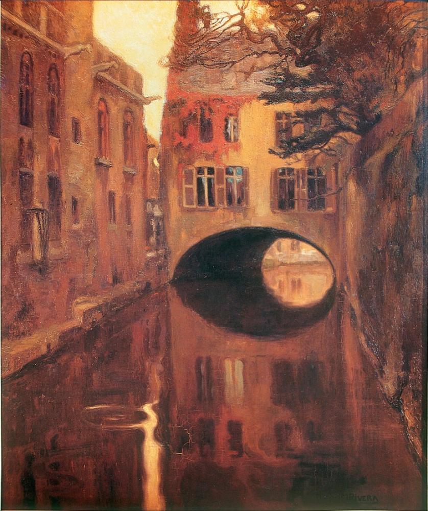 Diego Rivera, Köprü Üzerindeki Ev, Kanvas Tablo, Diego Rivera