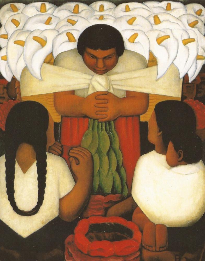 Diego Rivera, Flower Day, Figure, Diego Rivera, kanvas tablo, canvas print sales