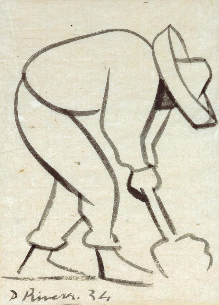 Diego Rivera, Man Shoveling, Figure, Diego Rivera, kanvas tablo, canvas print sales