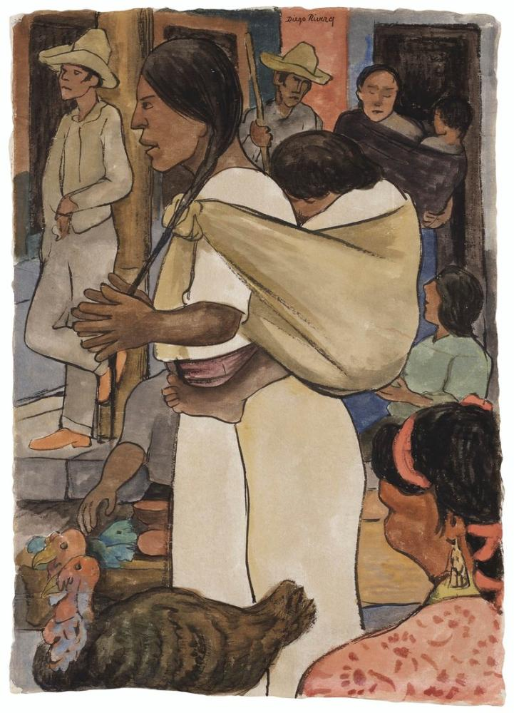 Diego Rivera, Turkey Market, Figure, Diego Rivera, kanvas tablo, canvas print sales