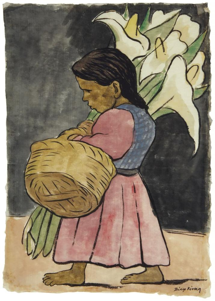Diego Rivera, Alcatraces ile Nina, Figür, Diego Rivera