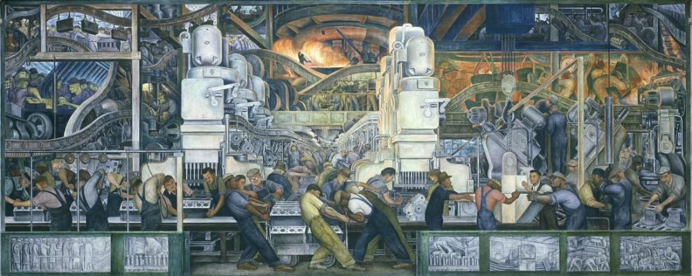 Diego Rivera, Mural of Factory Workers at Ford, Figure, Diego Rivera, kanvas tablo, canvas print sales