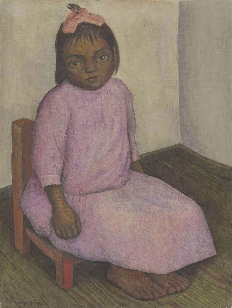 Diego Rivera, Niña con Vestido Rosa, Figure, Diego Rivera, kanvas tablo, canvas print sales
