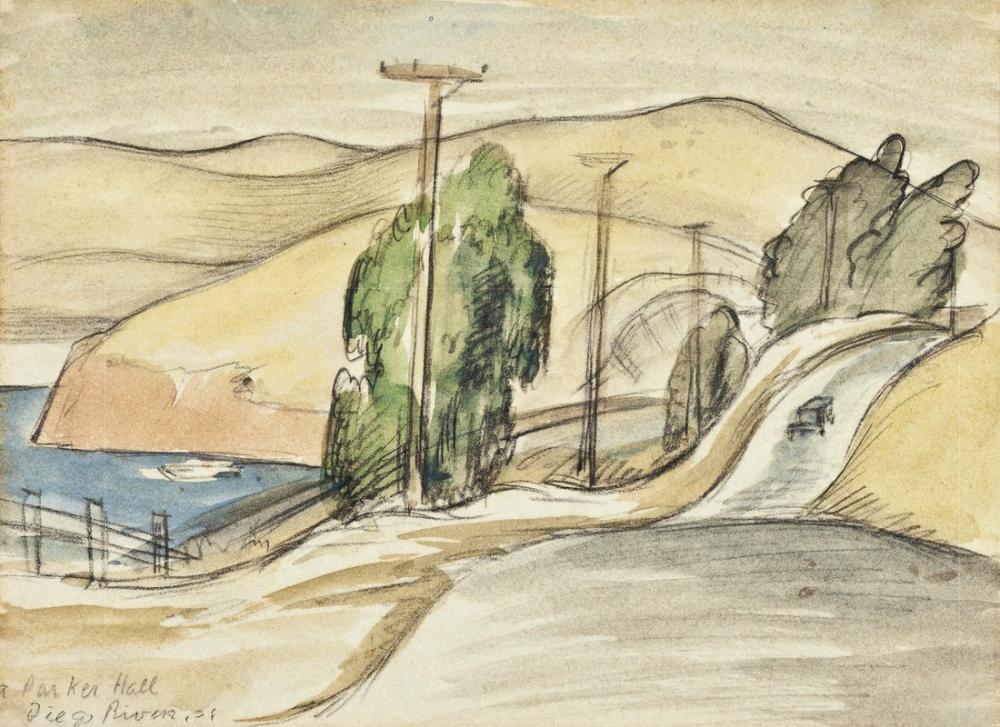 Diego Rivera, San Francisco Bay Landscape, Canvas, Diego Rivera, kanvas tablo, canvas print sales