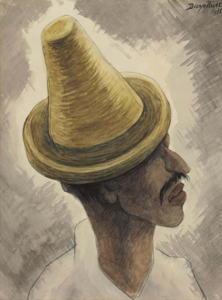 Diego Rivera, Hombre con Sombrero Perfil, Figure, Diego Rivera, kanvas tablo, canvas print sales