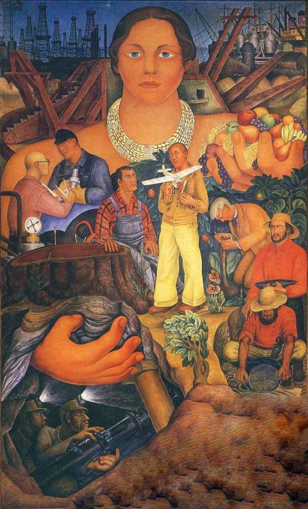 Diego Rivera, Kaliforniya Alegorisi, Figür, Diego Rivera