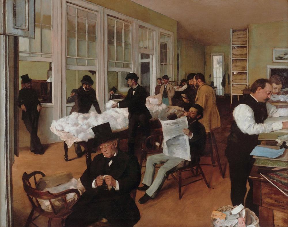 Edgar Degas New Orleans Cotton Exchange, Canvas, Edgar Degas, kanvas tablo, canvas print sales