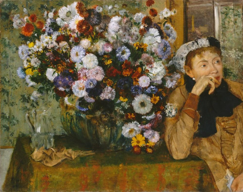 Edgar Degas A Woman Seated Beside A Vase Of Flowers Madame Paul Valpinçon, Canvas, Edgar Degas, kanvas tablo, canvas print sales