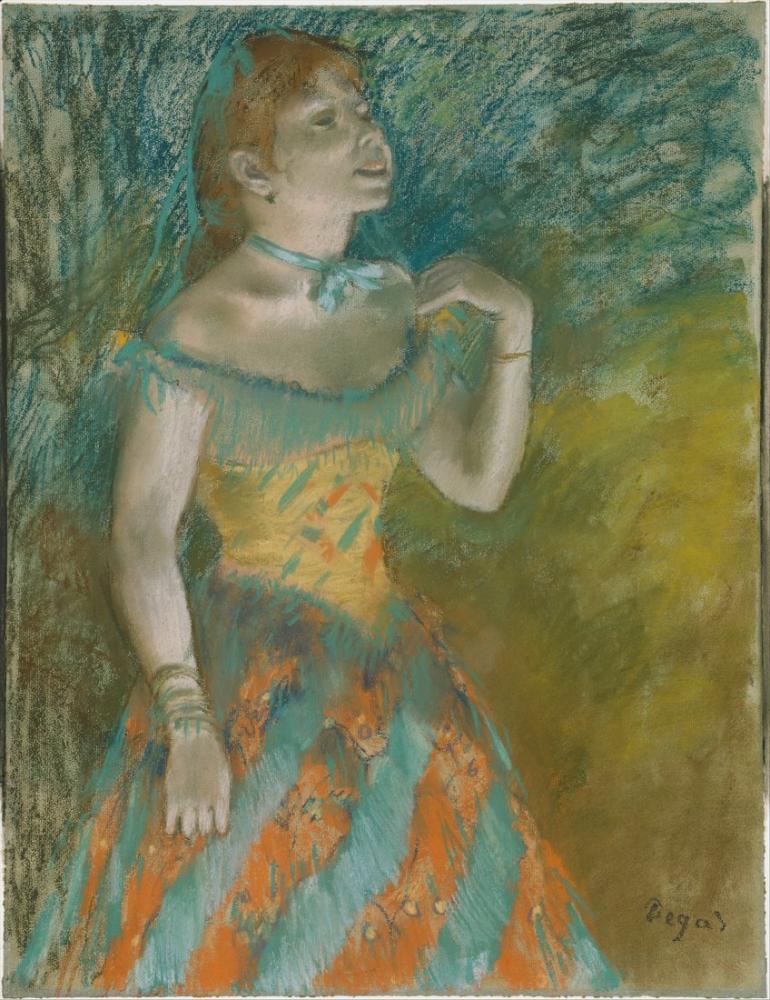 Edgar Degas Yeşil Şarkıcı DT, Kanvas Tablo, Edgar Degas, kanvas tablo, canvas print sales