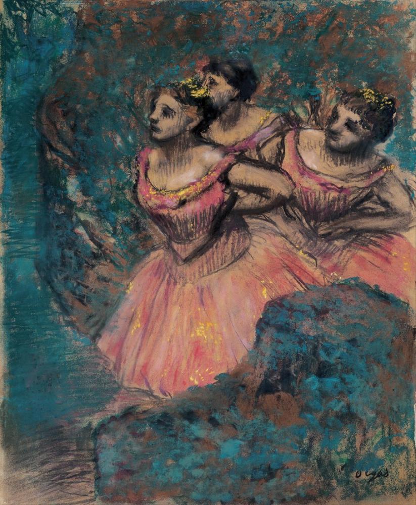 Edgar Degas Kırmızı Kostümlü Üç Dansçı, Kanvas Tablo, Edgar Degas, kanvas tablo, canvas print sales