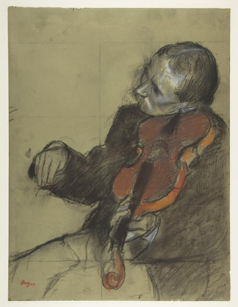 Edgar Degas Dans Dersi İçin Kemancı Çalışması, Kanvas Tablo, Edgar Degas, kanvas tablo, canvas print sales