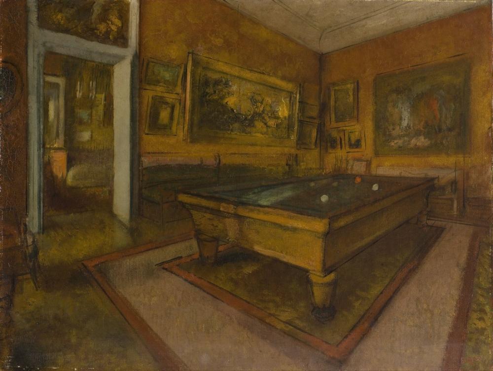 Edgar Degas Billiard Room At Menil Hubert, Canvas, Edgar Degas, kanvas tablo, canvas print sales