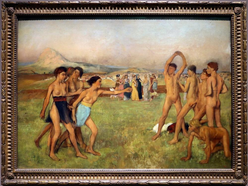 Edgar Degas Pratik Yapan Genç Spartalılar, Kanvas Tablo, Edgar Degas, kanvas tablo, canvas print sales