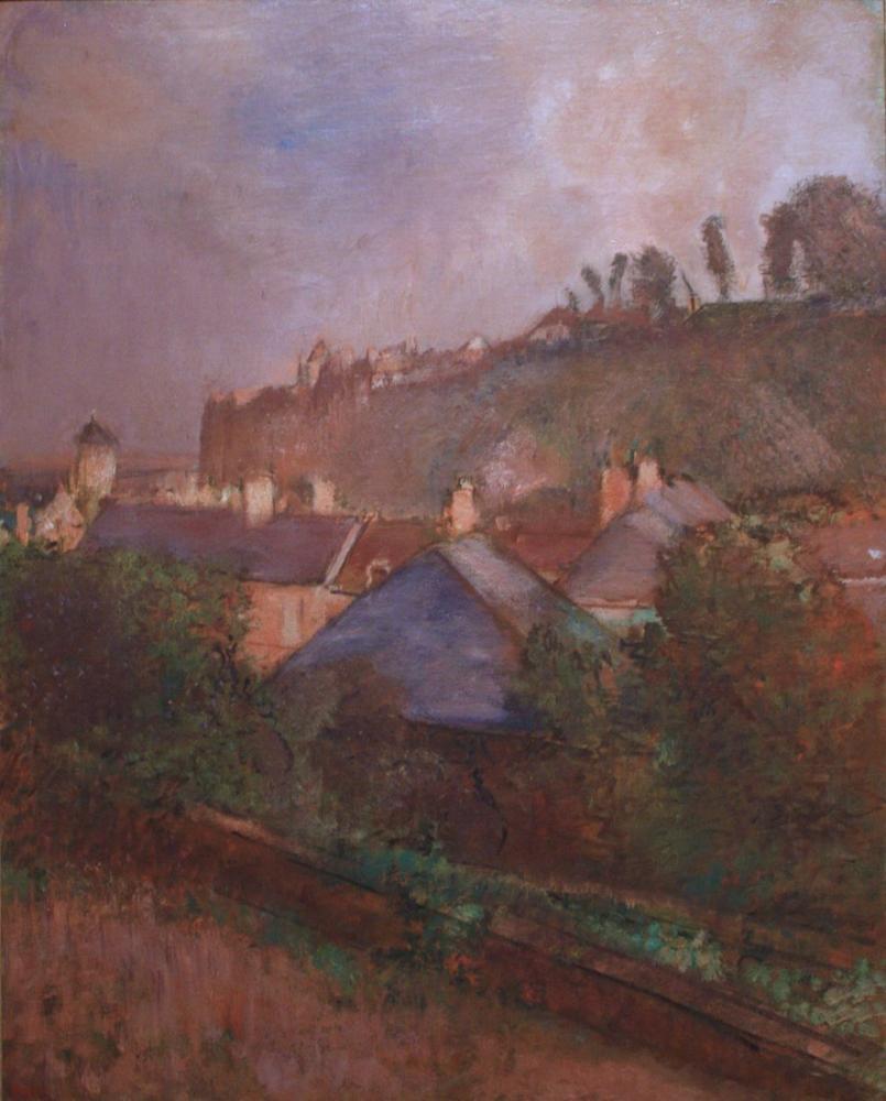 Edgar Degas Houses At The Foot Of A Cliff, Canvas, Edgar Degas, kanvas tablo, canvas print sales
