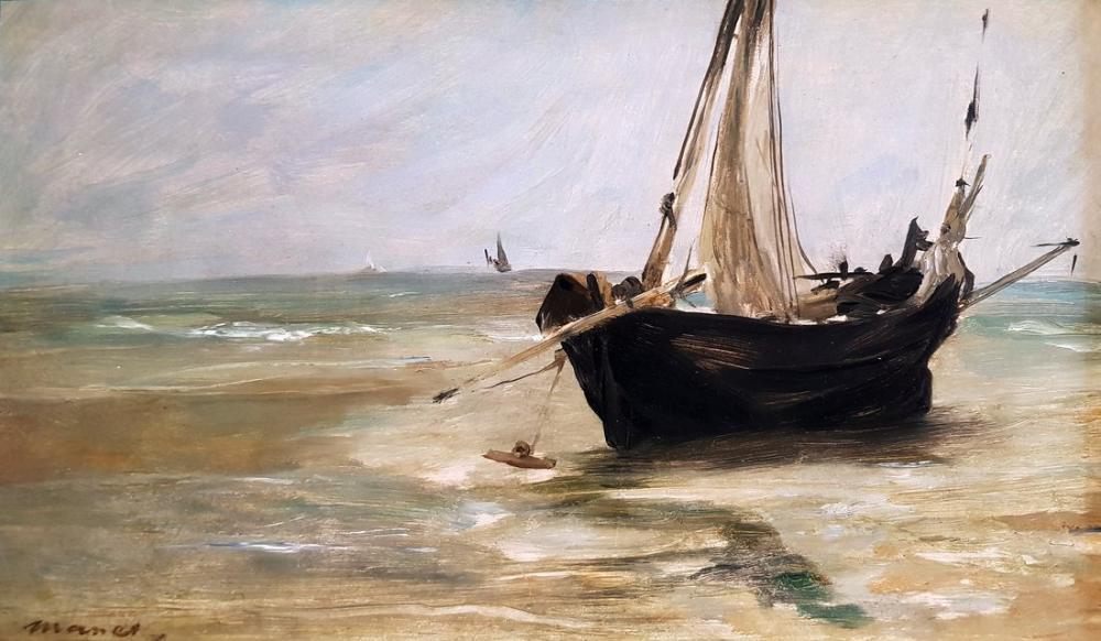 Edouardo Manet Black Boat At Berck Anagoria, Canvas, Édouard Manet, kanvas tablo, canvas print sales