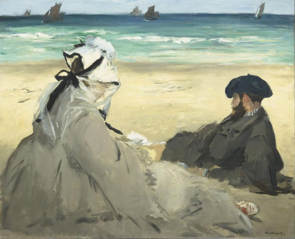 Edouardo Manet On The Beach, Canvas, Édouard Manet, kanvas tablo, canvas print sales