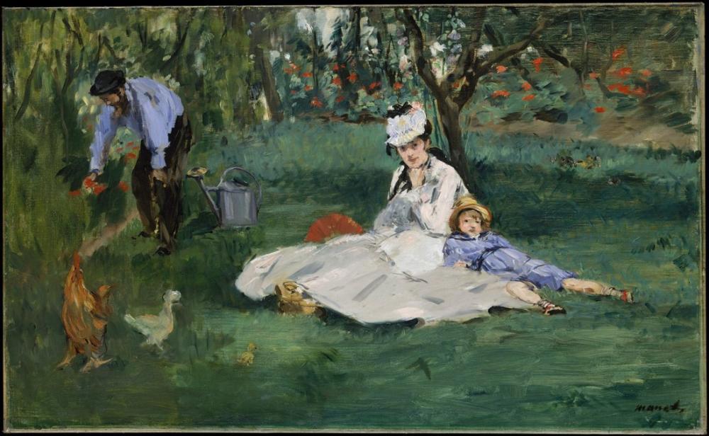 Edouardo Manet The Monet Family In Their Garden At Argenteuil, Canvas, Édouard Manet, kanvas tablo, canvas print sales