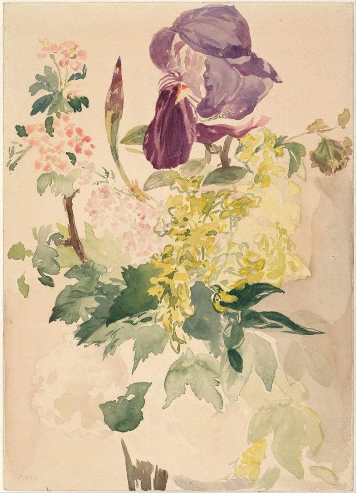 Edouardo Manet Flower Piece With Iris Laburnum And Geranium, Canvas, Édouard Manet, kanvas tablo, canvas print sales